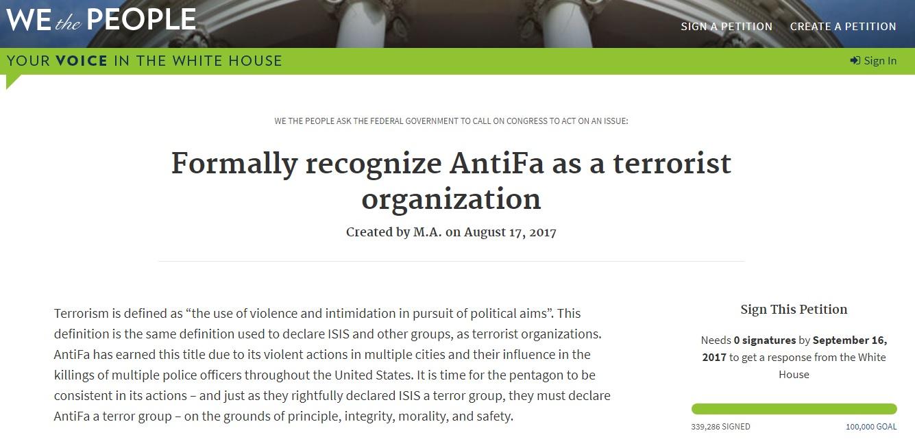 antifa terrorist group