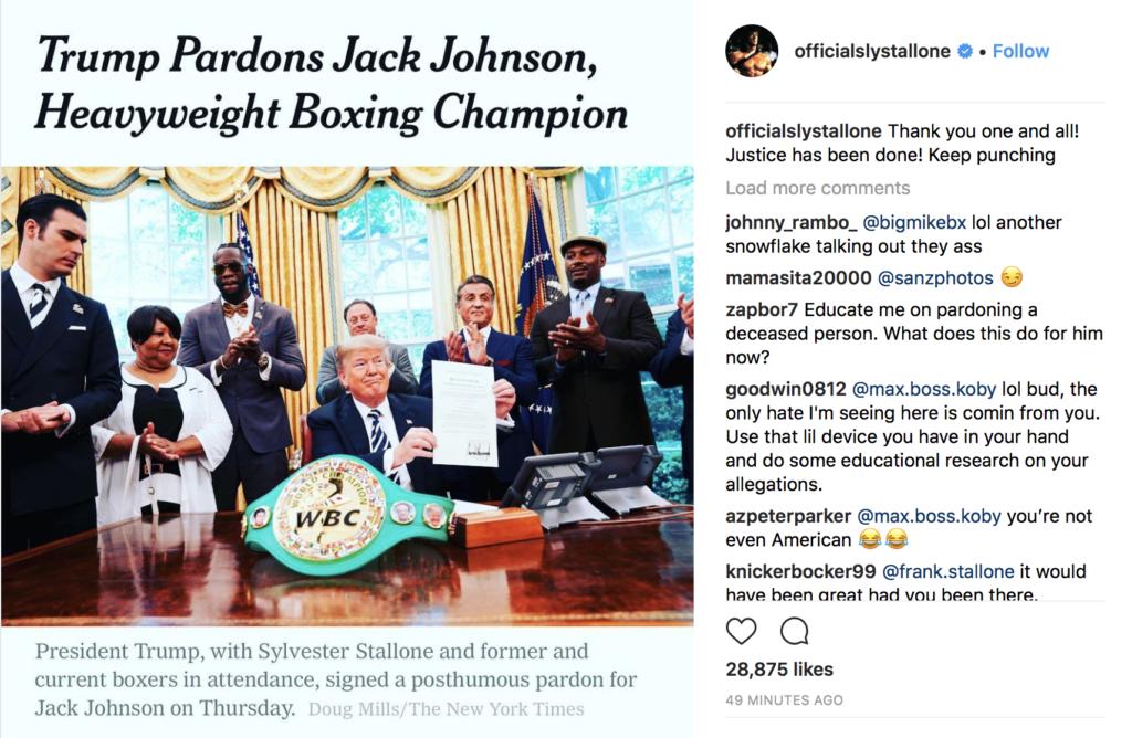 Trump pardons Jack Johnson