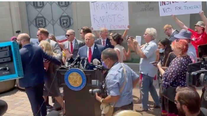 Left-Wing Protesters Shut Down GOP Press Conference Outside Department Of Justice